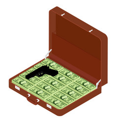 brown briefcase with million dollars and gun vector image