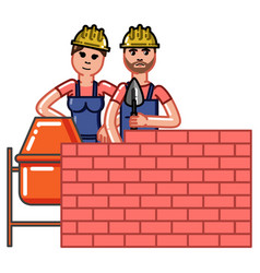 builder build a brick wall vector image