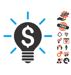 Business idea bulb icon with dating bonus vector