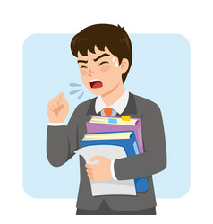 businessman coughing at work vector image