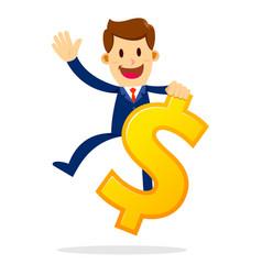businessman riding a big dollar sign vector image