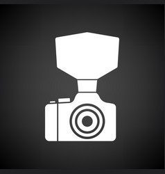 Camera with fashion flash icon vector