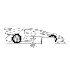 Cartoon of man expensive sport car owner sitting vector