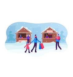 Christmas market or winter outdoor fair people vector