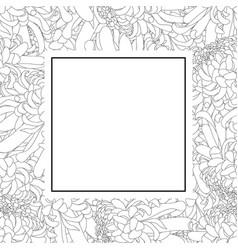 Chrysanthemum outline flower banner card vector