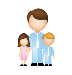 Color silhouette faceless with father and children vector