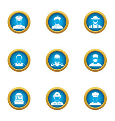 Countenance icons set flat style vector