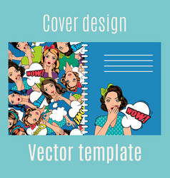 Cover design with popart women pattern vector