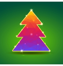 Creative bright Christmas tree with gold and vector image