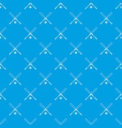 crossed baseball bats and ball pattern seamless vector image