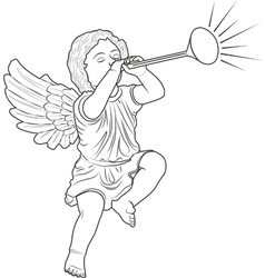 cupid played trumpet vector image
