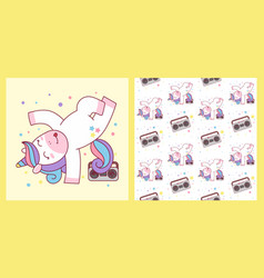 cute unicorn break dance hip hop and seamless vector image