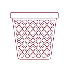 Dark red line contour of office trash can vector