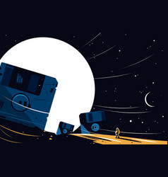 Diskette on space background vector