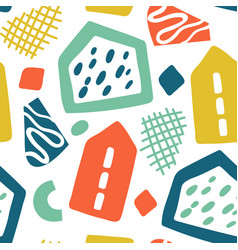 doodle geometric background hand drawn buildings vector image