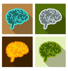 Drawing of a human brain human medicine icons vector
