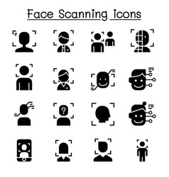face detection recognition and scanning icon set vector image