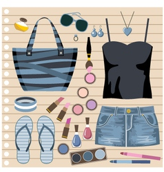 Fashion set with jeans skirt vector image