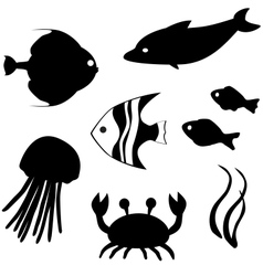Fish silhouettes set 3 vector