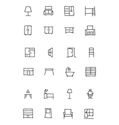 Furniture hand drawn icons 2 vector