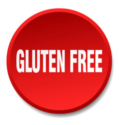 gluten free red round flat isolated push button vector image