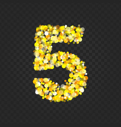 Gold glittering number 5t vector