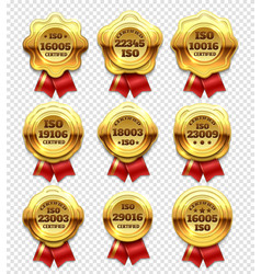 Golden certified rosettes gold verify tokens and vector