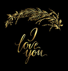 greeting card composition with golden i vector image