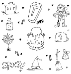 Halloween doodle set flat black and white vector