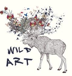 hand drawn elk flowers in it horns vector image