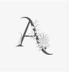 Hand drawn floral a monogram and logo vector