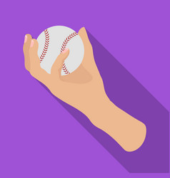 Hand with ball baseball single icon in flat style vector