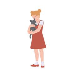 Happy kind girl kid character embracing cat flat vector
