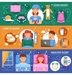 Healthy Sleep Concept Flat Banners Set vector image vector image