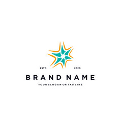 Hexagon star logo design vector