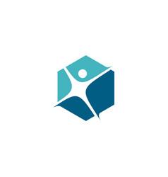 human hexagon hexagonal logo icon vector image