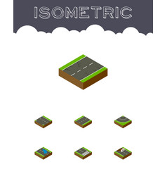 Isometric road set of driveway repairs plash and vector