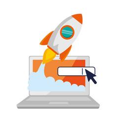 laptop computer with rocket launcher vector image