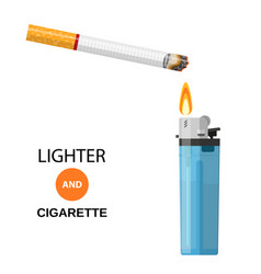 lighter and burning cigarette vector image