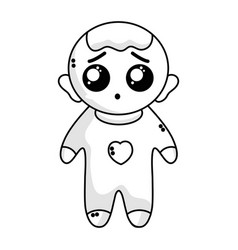 Line cute baby boy with hairstyle and clothes vector