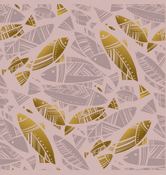 Luxury rosy and gold mosaic fish seamless pattern vector