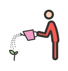 Man Watering Plant vector image