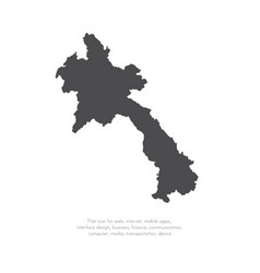 Map laos isolated black on vector