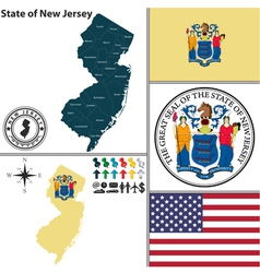 Map of new jersey with seal vector