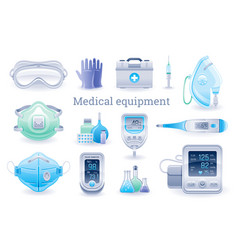 Medical device icon set pulse oximeter tonometer vector
