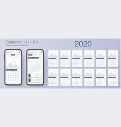 mobile app calendar 2020 week start sunday vector image