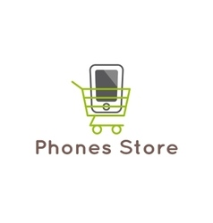 mobile phones store logotype Smartphone in vector image