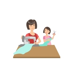 Mother And Child Sewing Together vector image