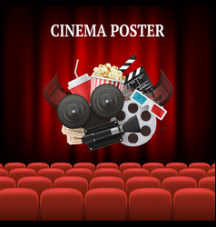 movie chairs background red set cinema movie vector image