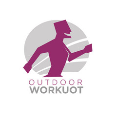 outdoor workout logo design of silhouette running vector image